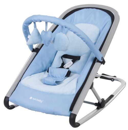 transat balancelle 2en1 bébé/enfant   dès la naissance   arche d'éveil avec jouets   dossier inclinable/harnais   cadre en aluminium   bleu - transats pour bébé