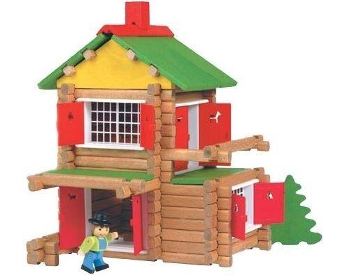 Jeujura - mon chalet en bois 135 pcs + voiture et personnage - jouet en bois - Autres jeux de construction