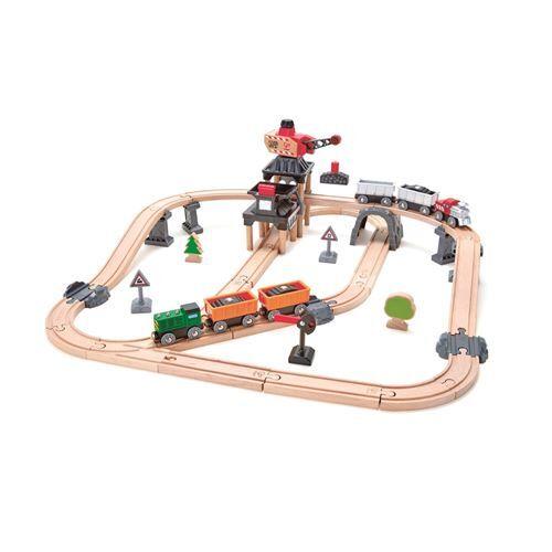 Hape Circuit de train en bois parcours de la mine Hape - Circuit et accessoires train en bois