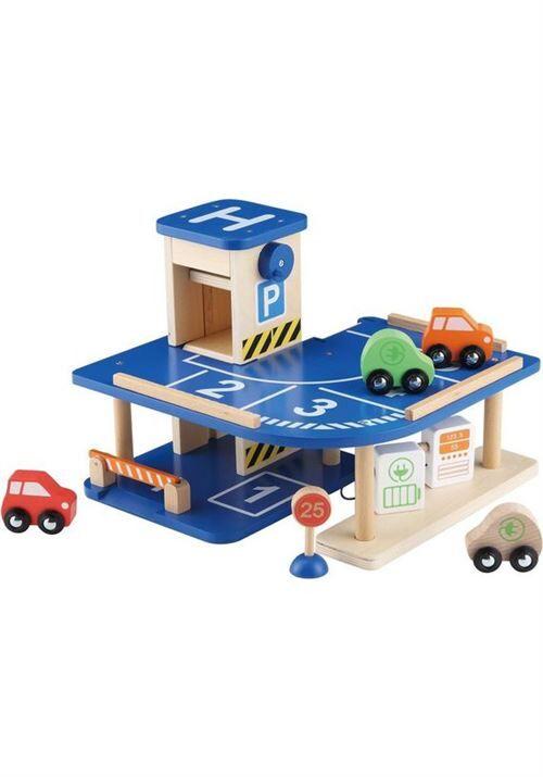 Everearth playgarage 30 x 27 cm garçons bois bleu 8-part - Garage