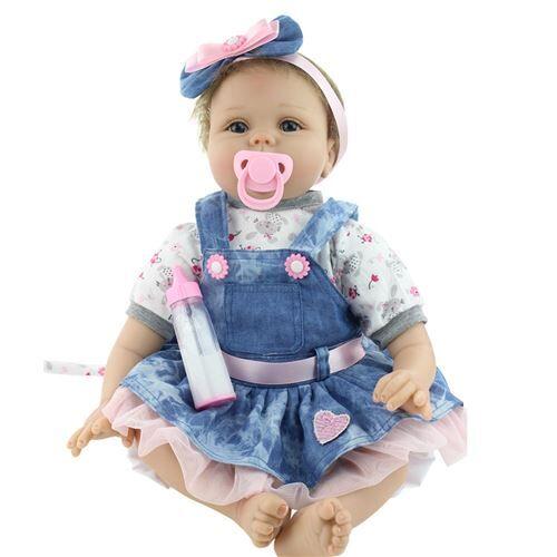 Réaliste Poupée bébé Reborn 55cm Nouveau-né enfants fille cadeau d'anniversaire Noël - Rose - Poupée