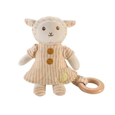 Everearth 20cm peluche mouton avec anneau bois ee33699 - Animal en peluche