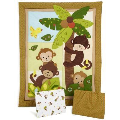 PEGANE Ensemble de literie pour enfants, motifs singes ( Pack de 3 pièces: couette, lit bébé jupe et drap housse), 41.9 x 41.9 x 12.7 cm -PEGANE- - Accessoires sommeil