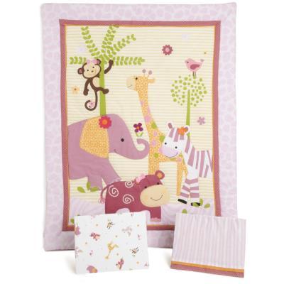 PEGANE Ensemble de literie pour enfants, motifs animaux ( Pack de 3 pièces: couette, lit bébé jupe et drap housse ), 41.9 x 41.9 x 12.7 cm -PEGANE- - Accessoires sommeil