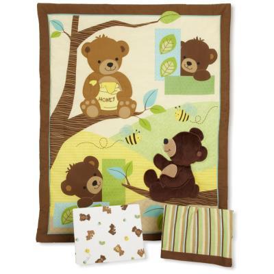 PEGANE Ensemble de literie pour enfants (Pack de 3 pièces: couette, lit bébé jupe et drap housse), 41.9 x 41.9 x 12.7 cm -PEGANE- - Accessoires sommeil
