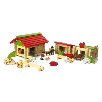 JeuJura Ferme en bois à construire avec 120 pièces JeuJura - Autres jeux de construction