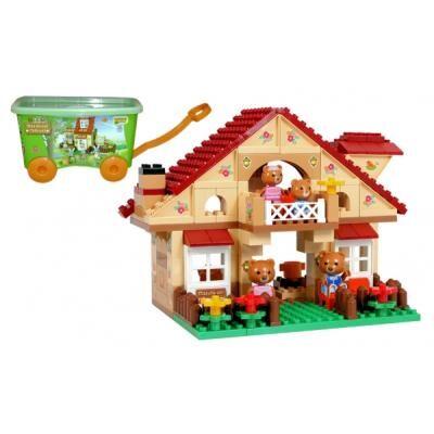 NONAME Jeu de construction - Chariot a tirer avec Briques à assembler - Maison 98 pièces - L'ours Maximilian ! - Autres jeux de construction