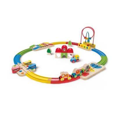 Hape Toys Ensemble train et gare Hape Rainbow Route - Autre circuit / véhicule