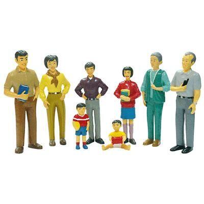 """Miniland """"Miniland - Set de 8 personnages, """""""" la famille asiatique """""""""""" - Poupée"""