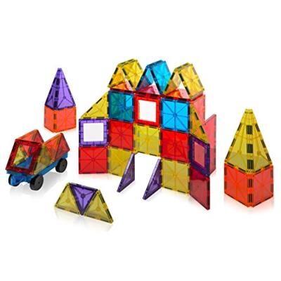 Playmags - 158 - jeu de construction de 60 pièces avec voiture et tuiles aimantées aux couleurs translucides - Autres jeux de construction