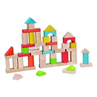 Everearth - ee32569 - jouet de premier age - seau de 50 cubes en bois - couvercle jeu assemblage - Cubes