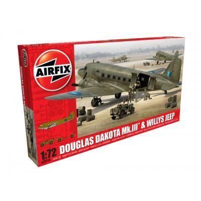 Airfix Maquette avion et véhichule militaires : Douglas Dakota MkIII et Jeep Willys Airfix - Maquette