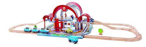 HAPE Playset Hape Grande gare urbaine - Circuit ou accessoire train en bois