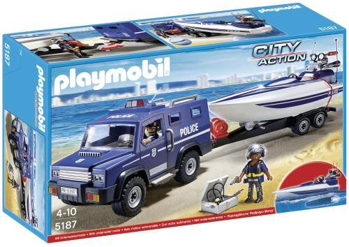 PLMB Playmobil 5187 City Action Fourgon et vedette de police - Playmobil