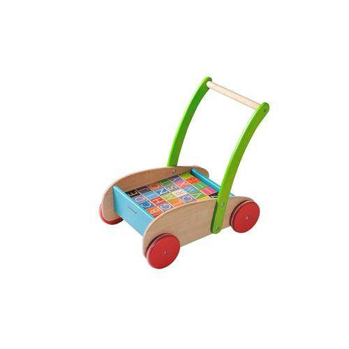 Everearth Chariot à blocs de bois multicolore 43 cm - Jeux d'éveil