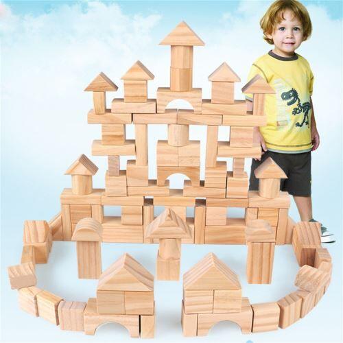 Unité standard de construction solides-bois Blocs en bois avec stockage Barrel 100 pièces Pealer2138 - Jeux d'éveil