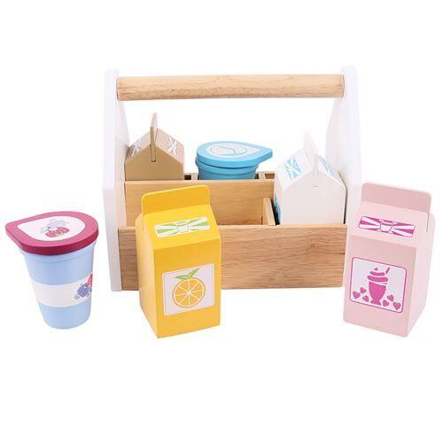Bigjigs Boîte en bois avec produits laitiers, 7dlg. - Autres