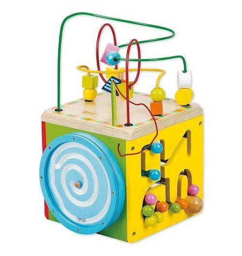 Classic world Cube d'activités en bois 20x20x35 cm - dès 24 mois - Jeux d'éveil