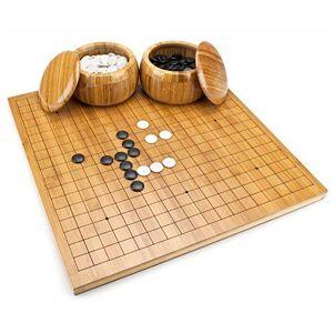 Non communiqué Brybelly Go Set avec plateau en bambou réversible Go (19x19 13x13), bols, pierres en bakélite, 2 joueurs - jeu de plateau de stratégie chinois classique - Autre jeu de société