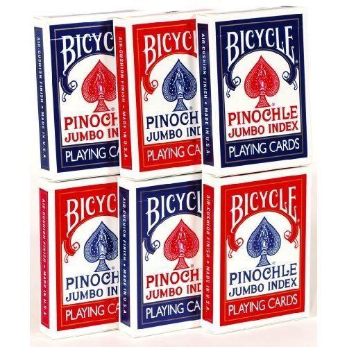 Non communiqué Index Jumbo Cartes à Jouer Pinochle - Lot de 6 Decks - Jeu de cartes