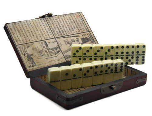 Non communiqué Jeu Domino de couleur ivoire à collectionner asiatique avec étui de rangement chinois - Autre jeu de société