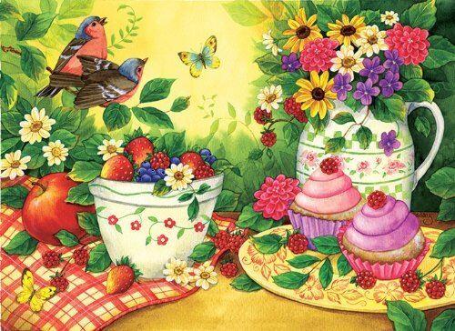 SunsOut Cupcakes for Two 500 pc Jigsaw Puzzle - Puzzle enfant