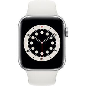 Apple watch Apple Apple Watch Series 6 GPS, 40mm boitier aluminium argent avec bracelet sport blanc - Publicité