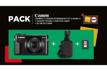 canon pack g7x mark ii noir + etui + carte 32gb