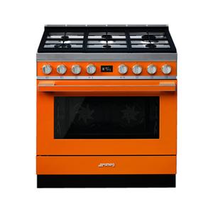 Smeg Piano de cuisson Smeg PORTOFINO 90cm MIXTE ORANGE - CPF9GMOR - Publicité