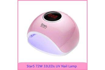 yokuli lampe uv sèche ongles portable, 72w  séchoir à ongles professionnel avec minuterie automatique et lcd ecran, lampe uv ongl,rose