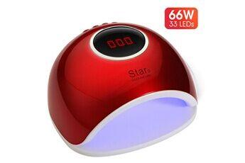 yokuli lampe uv sèche ongles portable, 66w séchoir à ongles professionnel avec minuterie automatique et lcd ecran, lampe uv ongl,rouge