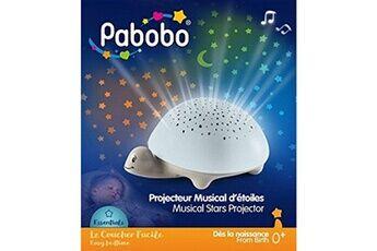 Pabobo - tortue - veilleuse musicale nomade et projecteur d'etoiles apaisant pour bébé et enfant - fonctionne à piles - gris