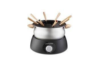 Lagrange Service à fondue inox/bois clair 900w 8 pers nettoyage facile caquelon anti-adhésif