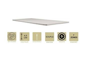Provence Literie Surmatelas top confort mémoire de forme souple 58 kg/m3 160x200 x 4,5 cm déhoussable entretien facile - anallergique - à l'aloe vera