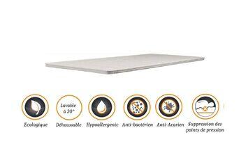 Nuits D'or Surmatelas top confort mémoire de forme souple 58 kg/m3 90x200 x 4,5 cm + alèse déhoussable entretien facile - anallergique - à l'aloe vera