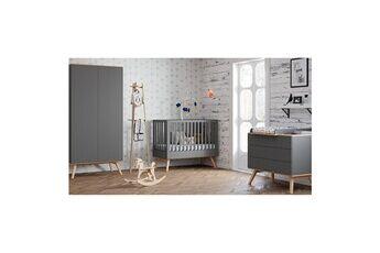 Vox Chambre complète lit bébé 60x120 - commode à langer - armoire 2 portes nature - gris