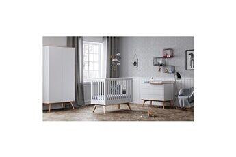 Vox Chambre complète lit bébé 60x120 - commode à langer - armoire 2 portes nature - blanc