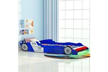GENERIQUE Mobilier pour bébés et tout-petits ligne budapest lit voiture de course pour enfants avec led 90 x 200 cm bleu