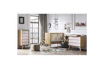Vox Chambre complète lit bébé 60x120 - commode à langer - chiffonnier vintage - bois rose