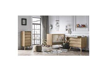 Vox Chambre complète lit bébé 60x120 - commode à langer - chiffonnier vintage - bois