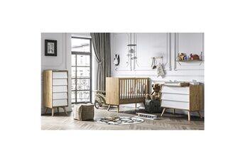 Vox Chambre complète lit bébé 60x120 - commode à langer - chiffonnier vintage - bois blanc