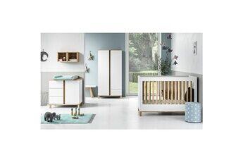 Vox Chambre complète lit bébé 60x120 - commode à langer - armoire 2 portes altitude - blanc