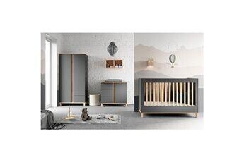 Vox Chambre complète lit bébé 60x120 - commode à langer - armoire 2 portes altitude - gris