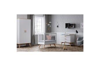 Vox Chambre complète lit bébé 60x120 - commode à langer - armoire 2 portes nautis - blanc