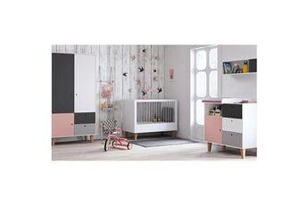 Vox Chambre complète lit bébé 60x120 - commode à langer - armoire 2 portes concept - rose