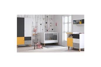 Vox Chambre complète lit bébé 60x120 - commode à langer - armoire 2 portes concept - jaune