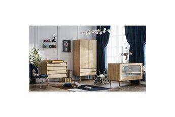 Vox Chambre complète lit bébé 60x120 - commode à langer - armoire 2 portes bosque - bois