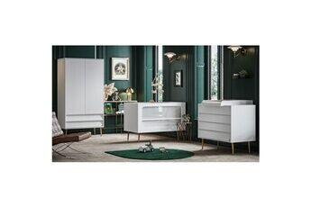 Vox Chambre complète lit bébé 60x120 - commode à langer - armoire 2 portes bosque - blanc