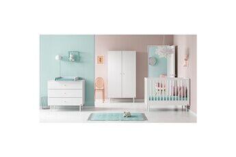 Vox Chambre complète lit bébé 60x120 - commode à langer - armoire 2 portes cute - blanc