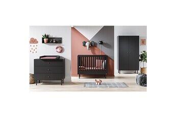 Vox Chambre complète lit bébé 60x120 - commode à langer - armoire 2 portes cute - gris